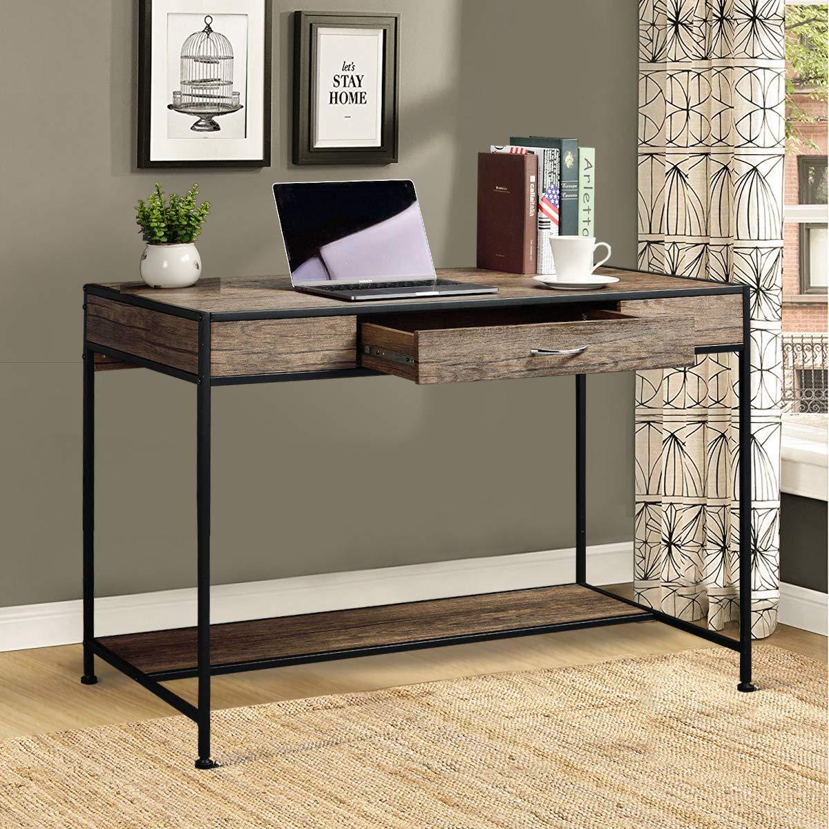 Aingoo Large Writing Desk with Drawer 43x22 Rustic Computer Desk Slim Metal MDF Wood Grain Workstation for Brown Farmhouse