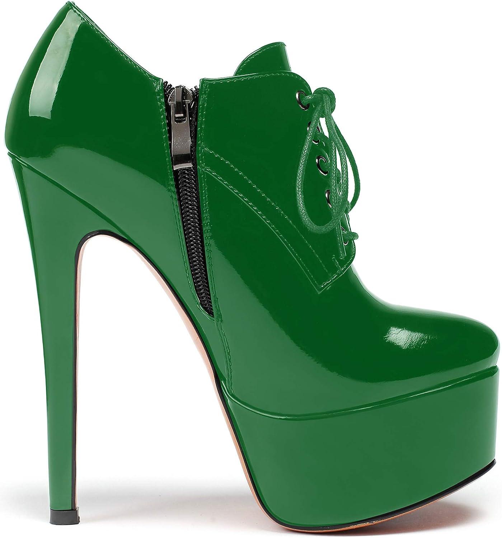Soireelady Stivali Corti da Donna, Stivali Moda Piattaforma Donna, Stivaletti Stringati Tacco Alto, Stivali Outdoor Tacco Stiletto Verde
