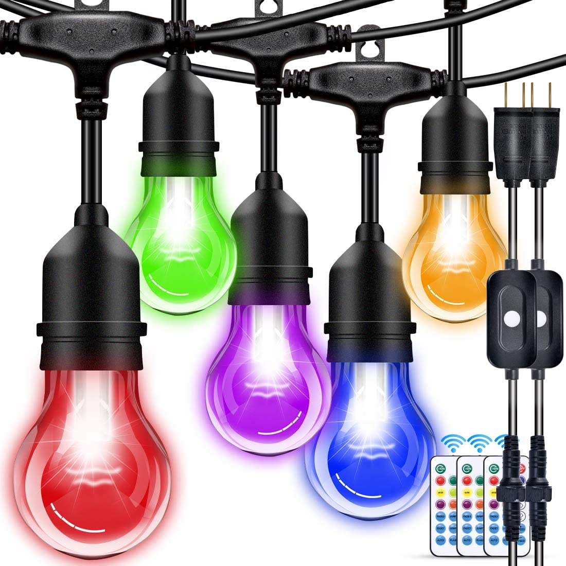 Outdoor String Lights, 96FT Multicolor LED Dimmable RGB with Remote Controller, IP65 Waterproof Commercial Grade 30+5 E26 Plastic Bulbs for Patio, Garden, Bar, Party, Wedding, Christmas