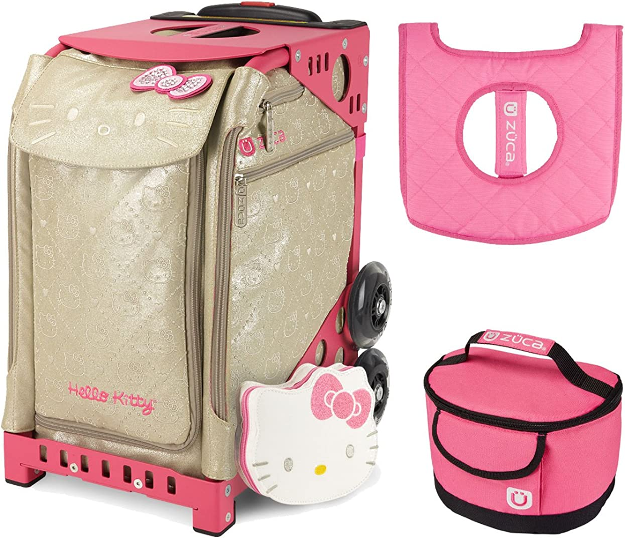 ZUCA Sport Bag – Hello Kitty Good As Gold with Gift Lunchbox and Seat Cover Pink Frame