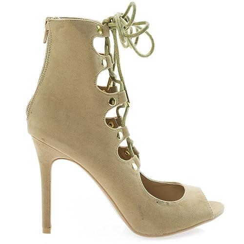 ea48c5e5b84 Shoe Republic Natalia Camel Ghillie Corset Lace Up Peep Toe High Heel Dress  Sandal Pump Bootie