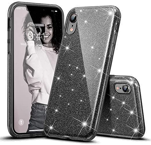 Amazon Com Kumeek Iphone Xr Case For Girls Women Cute Girly Glitter Bling Sparkly Protective Phone Cover Cases For Apple Iphone Xr 6 1 Black