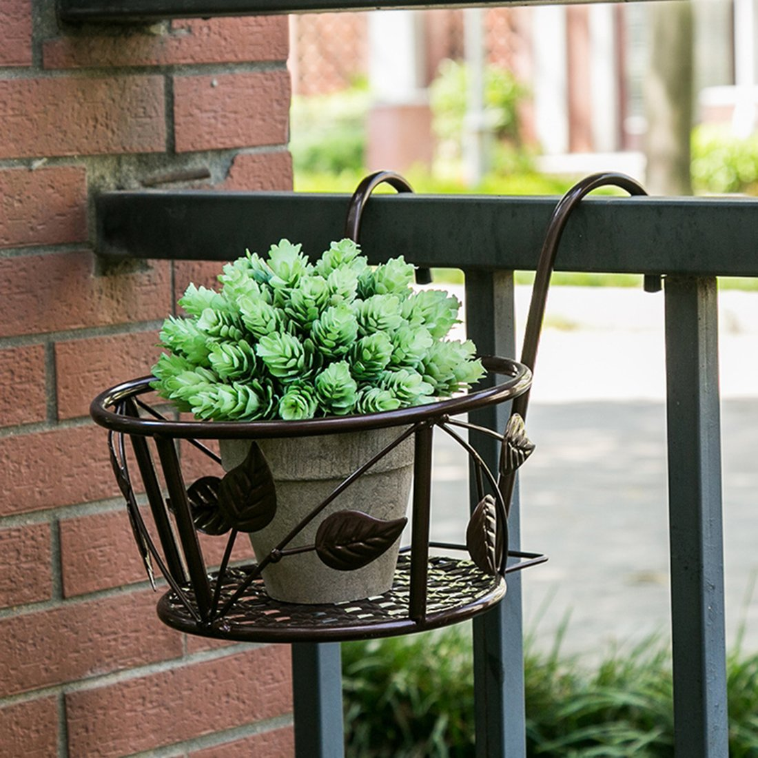 Tosnail 3 Pack Iron Art Hanging Baskets Flower Pot Holder - Great Patio Balcony Porch Fence - Brown by Tosnail (Image #2)