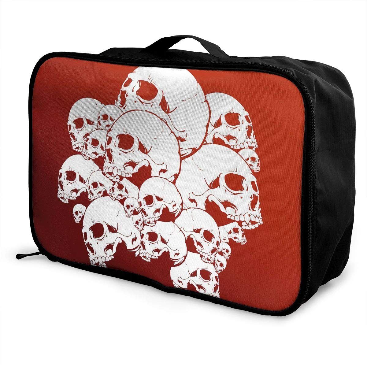 Travel Luggage Duffle Bag Lightweight Portable Handbag Skull Pattern Large Capacity Waterproof Foldable Storage Tote