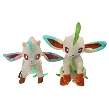 "2pcs Pokemon 8.5""+8"" Leafeon felpa suave juguete de peluche muñeca japonesa Linda"