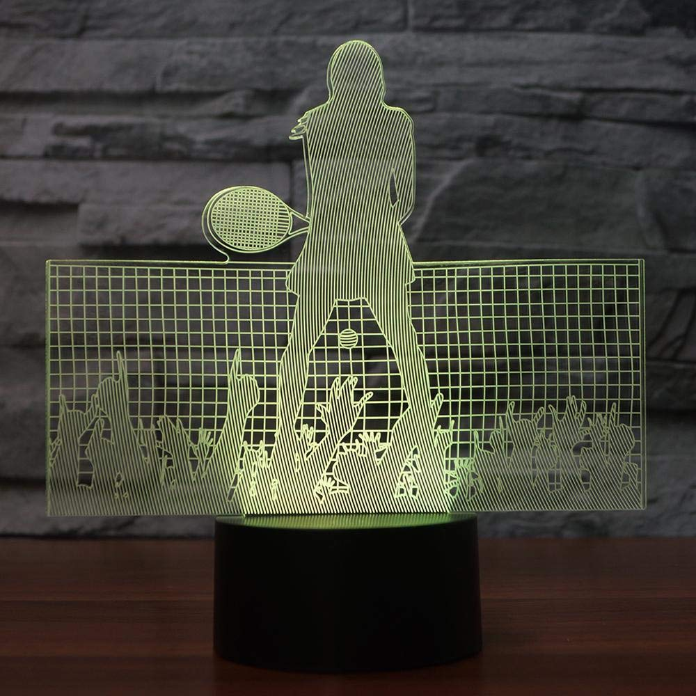 Amazon.com: Zylxyd 3D Night Lighttouch Gift Led Tennis Player Table Lamp USB Visual Bedside for Kids Baby Sleeping Lighting Sports Decor: Baby