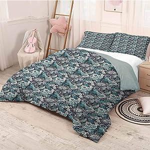 prunushome Paisley Bedding Duvet Cover Set Traditional Composition with Floral Motifs Ancient Revival Pattern Decorative 3 Piece Bedding Set Multicolor Twin