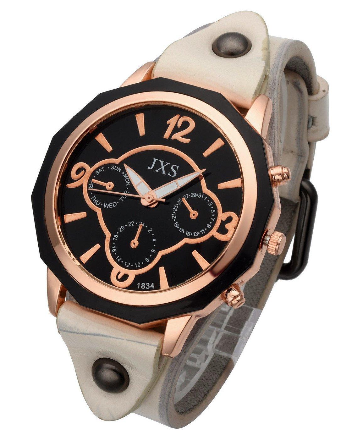 Top Plaza Womens Mens Fashion Rose Gold Tone Leather Analog Quartz Wrist Watch Arabic Numerals Big Face Casual Sport Watch - White