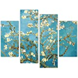 "MANDORLO IN FIORE DI VINCENT VAN GOGH CANVAS WALL ART PRINTS-STAMPA FOTOGRAFICA, MOTIVO FLOREALE, COLORE: BLU CON STAMPA HOME DÉCOR-DECORAZIONI DA PARETE PER QUADRI, CONFEZIONE DA 4 PEZZI, DIMENSIONI: 90 CM DI LARGHEZZA, 88,90 CM (35"") 71,12 CM (28"") 71 CM, MISURA XL"