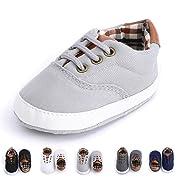 Baby Boys Girls Basic Canvas Sneaker Lace Up Infant Prewalk Shoes(0-18 Months) (6-12 Months Infant, D-Light Grey)