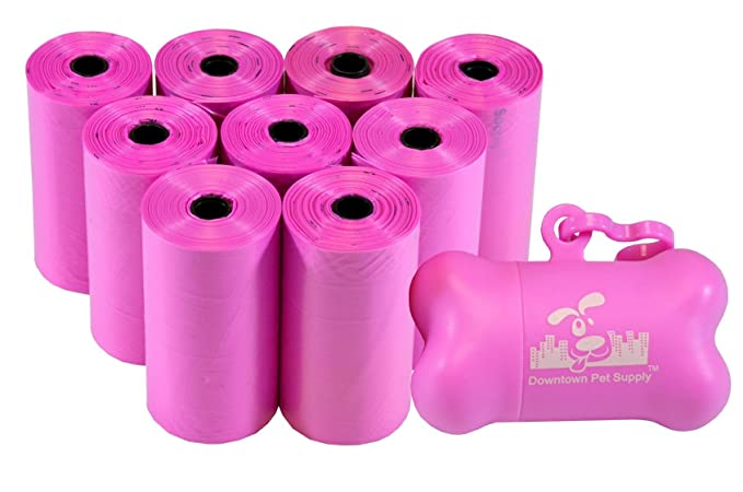 ... A Granel Bolsas De Residuos Para Mascotas, Bolsas De Desechos De Perro, En Un Rollo Limpiar Caca Bolsa Recambios - (Color: Rosa) + Dispensador Hueso: ...