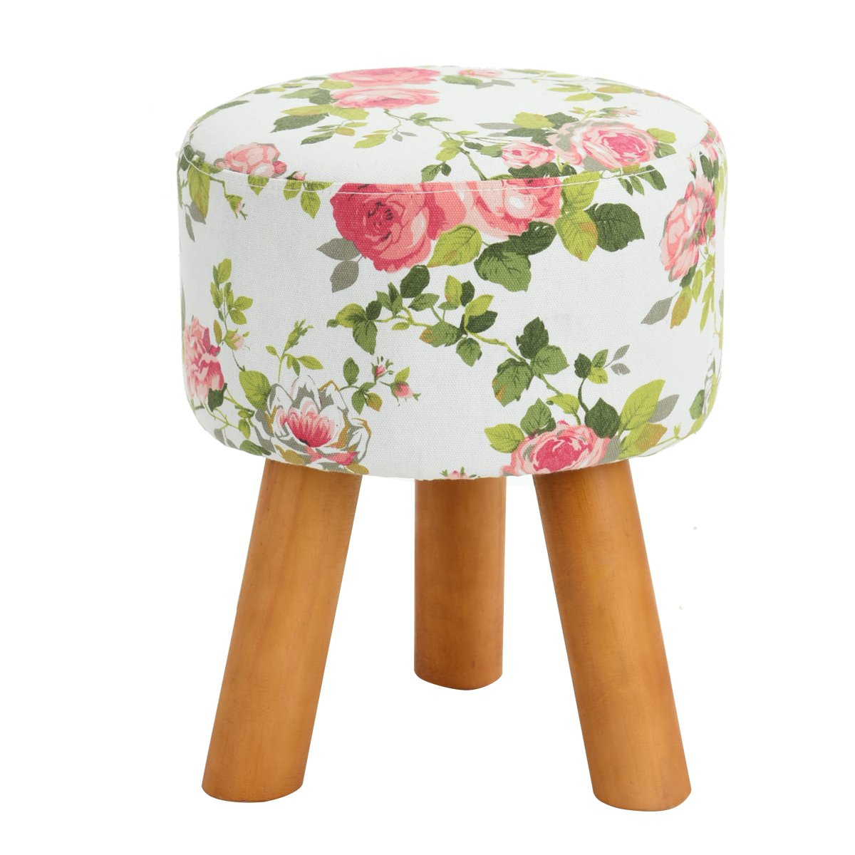 """Floral Round Ottoman Low Foot Step Stool With Wood Legs For Wearing Shoes,Green,Diameter: 11.8"""" Height: 15.7"""""""