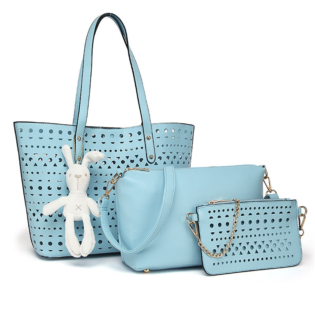 Luckywe Leather Handbag Hollow Parents 3 Pieces Tote Set Large Capacity Shoulder Purse Crossbody