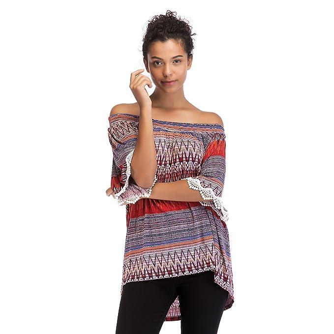 61a77861f911fb OneWorld Women s Boho Print Off Shoulder Lace Trim Flare Sleeve Top Loose  Tunic Blouse Shirt (