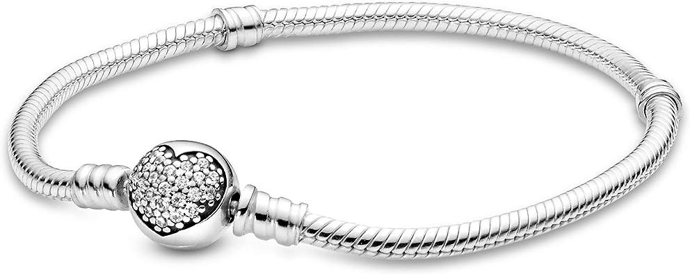 Pandora Jewelry Sparkling Heart Cubic Zirconia Bracelet in Sterling Silver