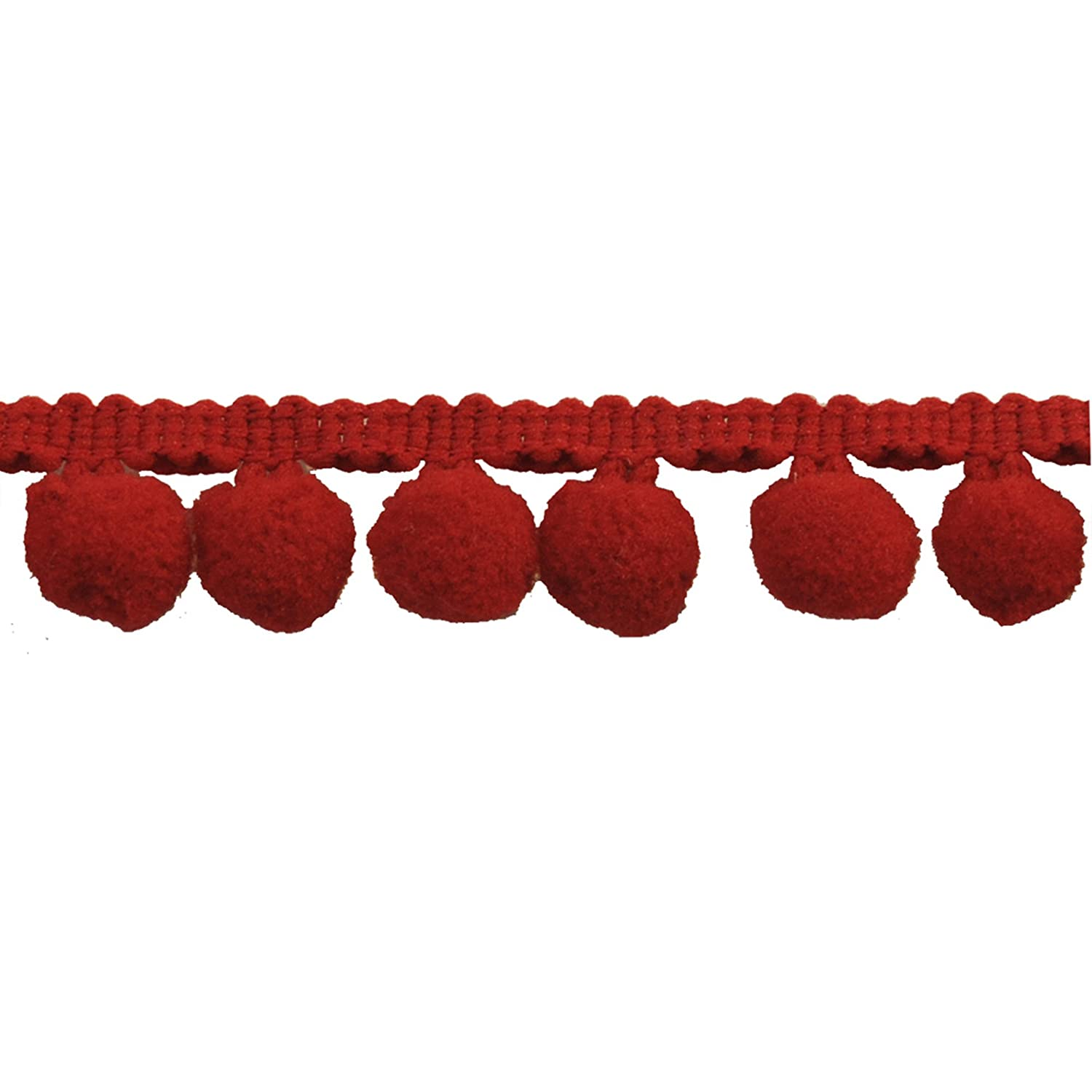 Pompom Fringe 1-Inch Polyester Fringe Rolls for Arts and Crafts, 10-Yard, red Belagio Enterprises BP-101 - 22 RED