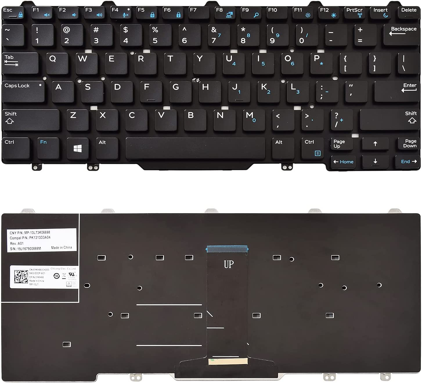 SUNMALL Replacement Keyboard Compatible with Dell Latitude 3340 13 E3340 7350 13 7000 2-in-1 7350 Black US Layout