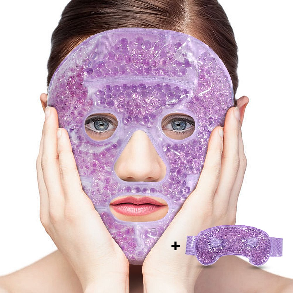 LifeWheel Plush Hot/Cold Therapy Facial Mask and Eye Mask with Gel Bead Stuffed Eco-Friendly Good for Reducing Eye Puffiness Dark Circle Bags Under Eyes Perfect Gift to Relieve Facial Stress