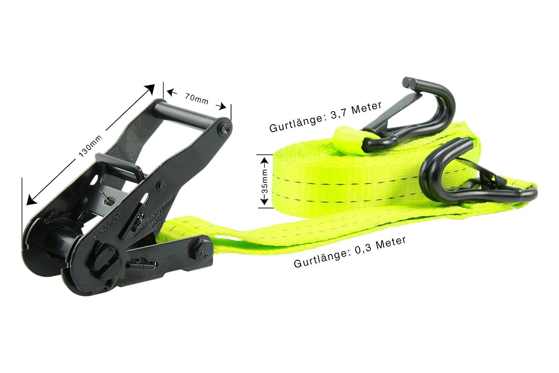 S J-Haken und Sicherung Ratsche 4m VE = 2 St/ück in Einem Beutel schwarzes Gurtband gefertigt nach DIN EN 12195-2 zweiteilig STF 220 daN LC 1000 35 mm Sandax 1007.0621 Zurrgurt