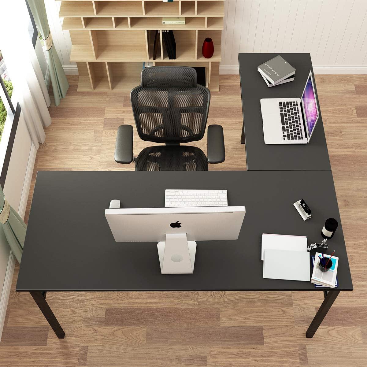 DlandHome L-Shaped Desk Large Corner Desk Folding Table Computer Desk Home Office Table Computer Workstation, Black DND-ND11-BB1