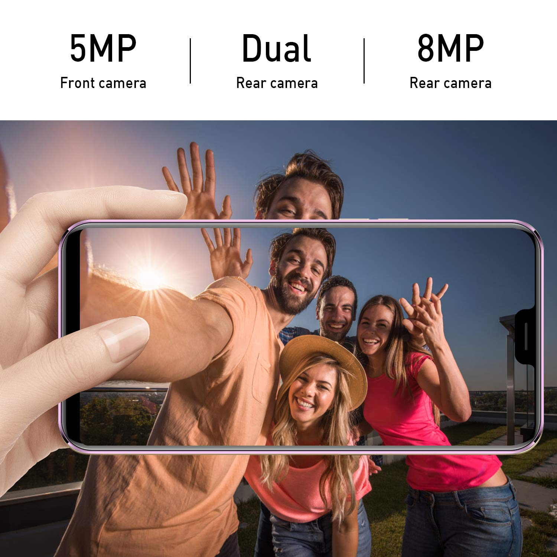 Doble Camara 13MP Dual SIM Face ID Morado M/óvil Libre 4G RAM de 3 GB Memoria de 16 GB Android 8.1 Tel/éfono Smartphone de 5.85 HD