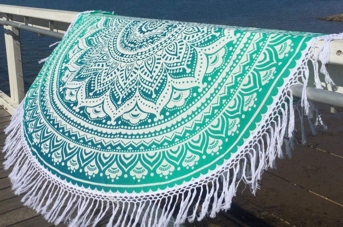 Roundie 70 with Cotton Tassel, Green Madhu International Ombre Mandala Tapestries TTWT10088