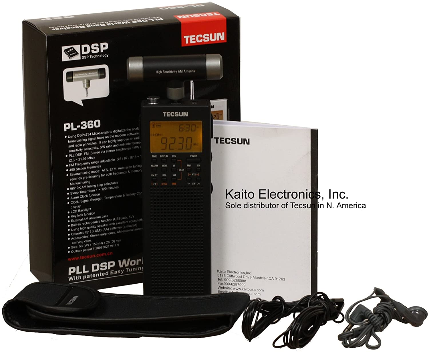 Black Tecsun PL-360 Digital PLL Portable AM//FM Shortwave Radio with DSP