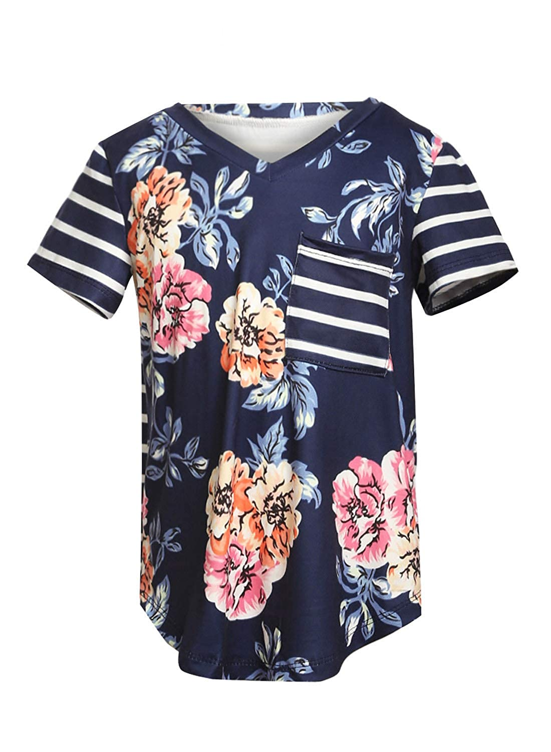 Aleumdr Girls Casual Short Sleeve Floral Striped V Neck T-Shirts Summer Tunic Blouses Tops for 4-13 Years