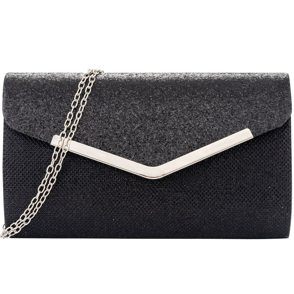 Womens Evening Clutch, Glittering Shininig Envelope Clutches Purse, Handbag for Wedding Parties and Cocktail Prom (Black)