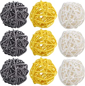 STMK 9 Pcs 3 Inch Wicker Balls Decorations, Rattan Balls Decorative for Home Decor DIY Vase Bowl Filler Ornament Baby Room Nursery Décor Wedding Table Decoration (Grey, Yellow, White)