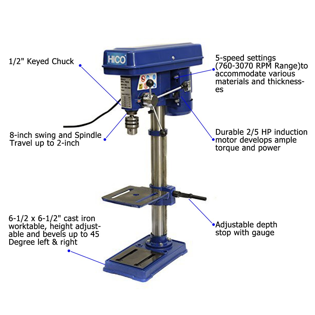 HICO Bench Top Drill Press - 8 Inch Adjustable Height, 5 Speed Motor, Cast Iron Table DP4113 by HICO (Image #2)