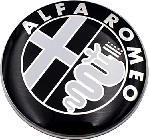 2 Fregi Stemma Alfa Romeo Nero Logo 74mm Cofano Anteriore