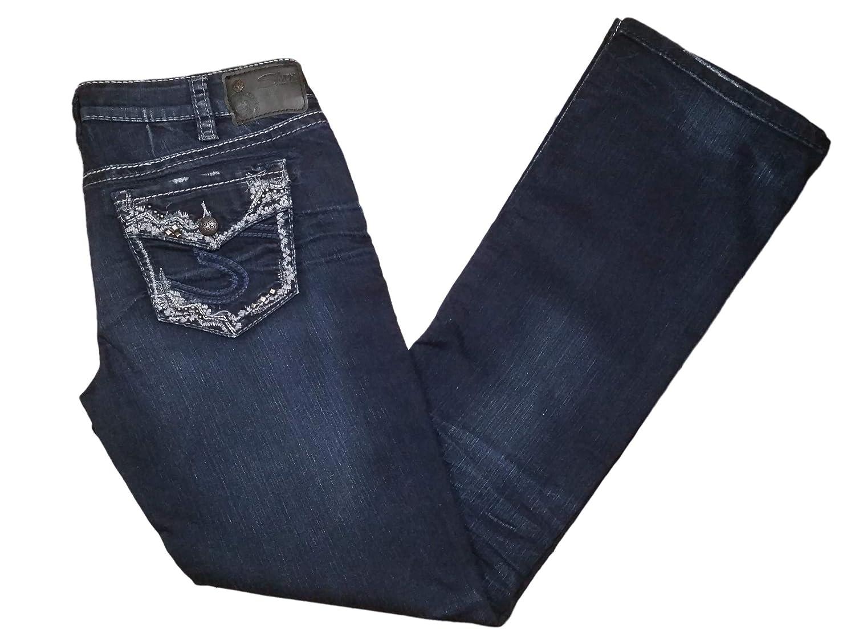 Silver Aiko Slim Boot Jeans Mid Rise Dark Wash Super Stretch Inseam 33 Inches