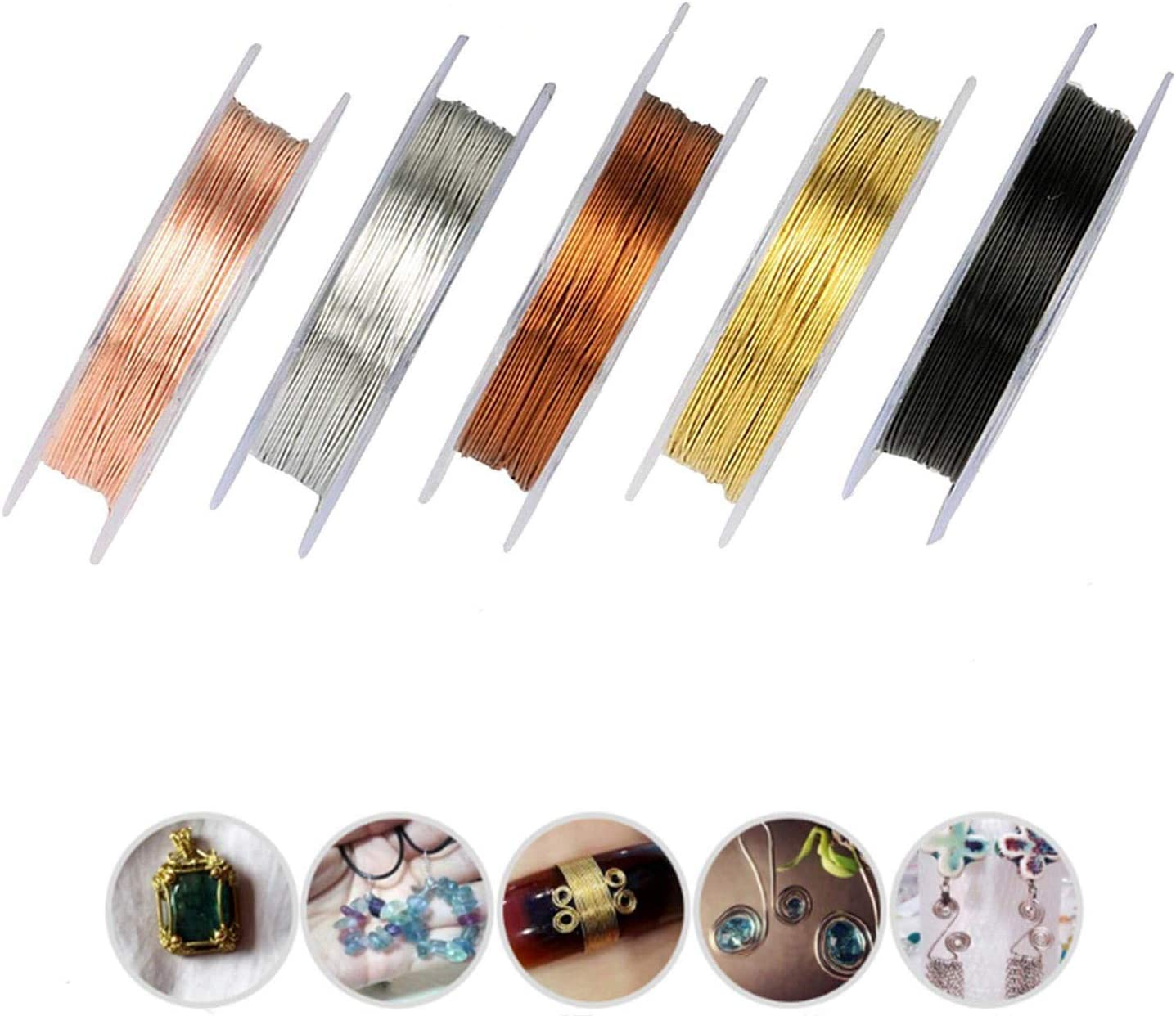Libershine 6 Pack Jewelry Wire Craft Wire 26 Gauge Tarnish Resistant Jewelry Beading Wire for Jewelry Making Supplies and Crafting Silver, Gold and Rose Gold