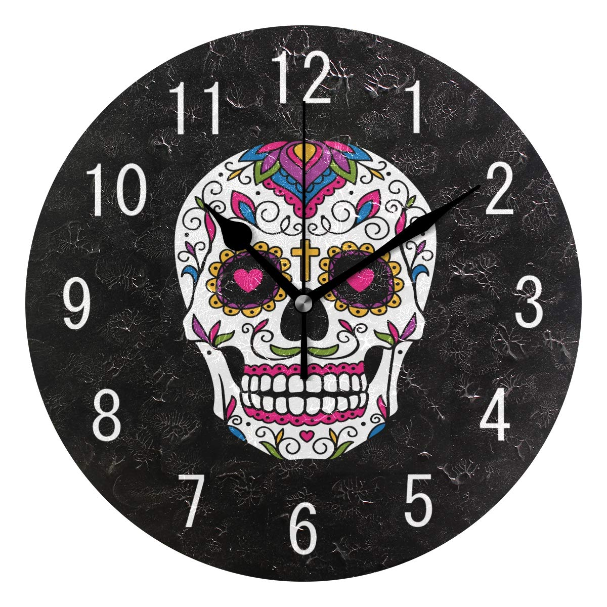 ALAZA Home Decor Mexican Sugar Skull Black Round Acrylic Wall Clock Non Ticking Silent Clock Art Living Room Kitchen Bedroom g7032164p239c274s441