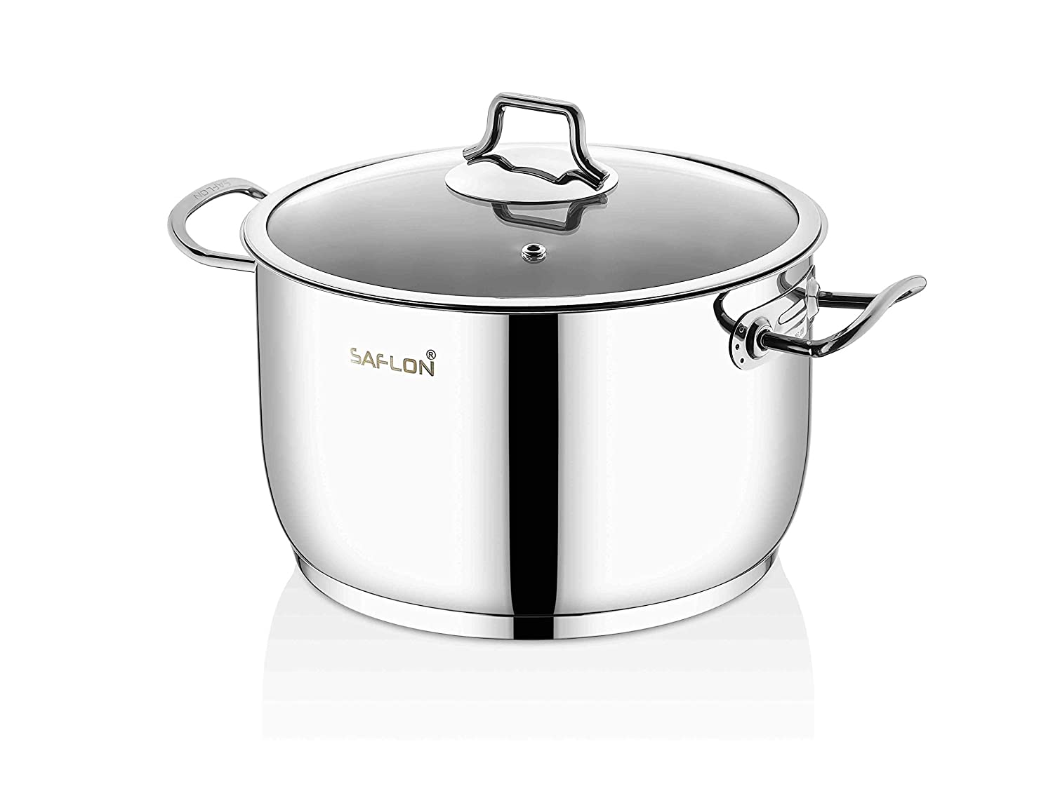 Saflon Stainless Steel Tri-Ply Capsulated Bottom 6 Quart Stock Pot with Glass Lid, Induction Ready, Oven and Dishwasher Safe