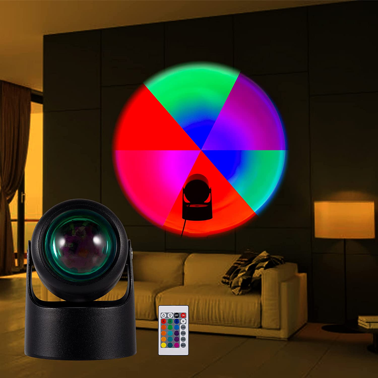 Sunset Lamp, RGB Sunset Projection Lamp, 16 in 1 Sunset Lamp Projector with Remote Control for Kid Baby Teen Adult, Perfect Sunset Night Light Projector for Home Decor/Photography/YouTube(Multicolor)