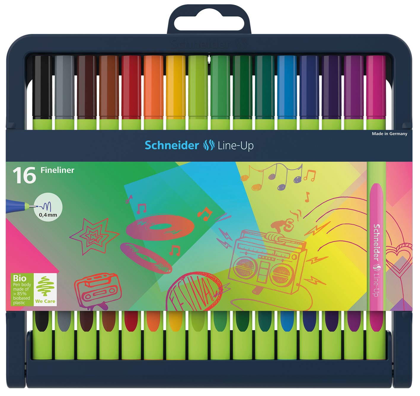 Schneider Line-Up Fineliner with Stand-Up Case, 0.4mm, 16 Pieces, Assorted Colors (191092)