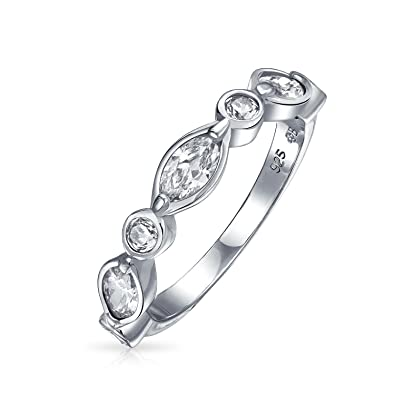 517ca0906a388 Vintage Style Cubic Zirconia CZ Thin Stackable Bubble Round Marquise  Anniversary Wedding Band Ring 925 Sterling Silver