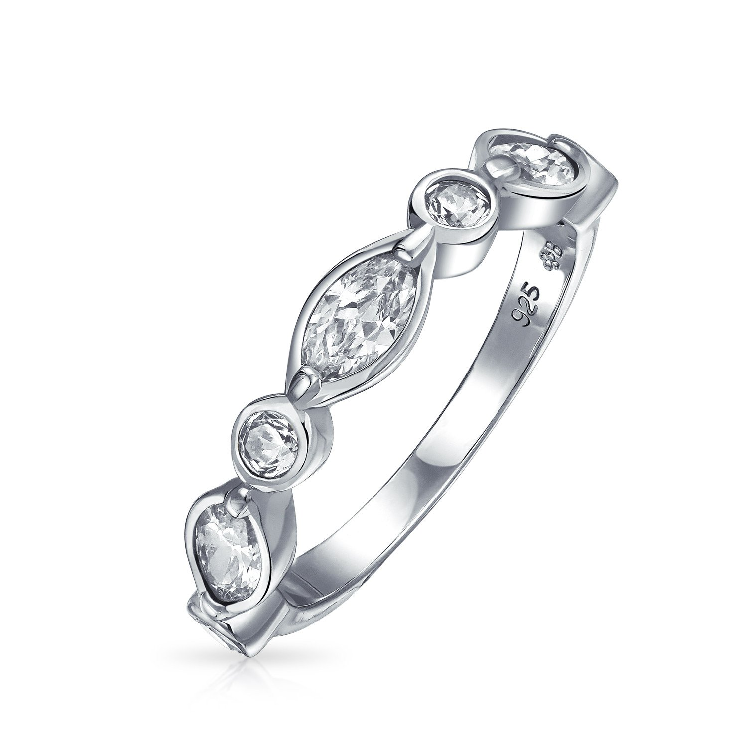 Bridal Vintage Style Band Round Marquise CZ Ring 925 Silver by Bling Jewelry