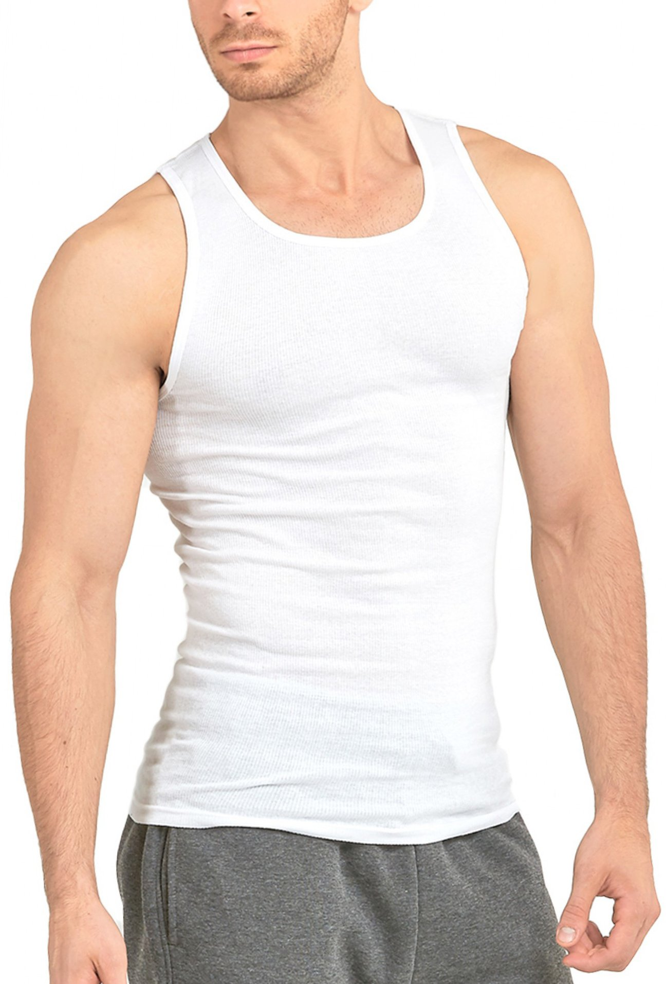 ToBeInStyle Men's Pack of 6 Scoop Neck Sleeveless A-Shirts - White - 3XL