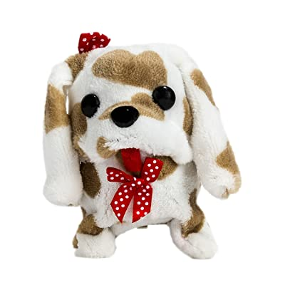 Wonderful Gift Shop Wagging Walking Barking Electronic Brown Spots Plush Puppy Toy: Toys & Games
