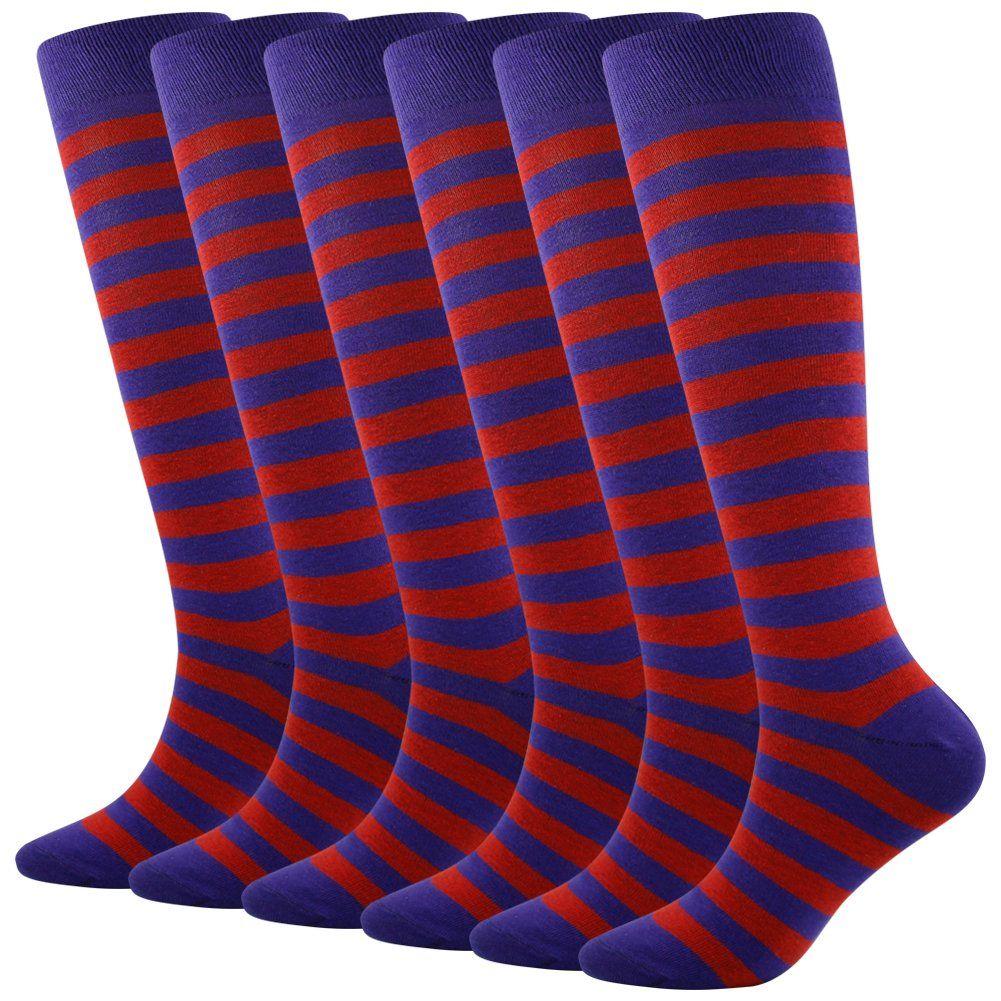 Striped Soccer Socks, SUTTOS Adult Men and Women Cushioning Team Cycling Hockey Football Lacross Softball All Sport Socks,6 Pairs