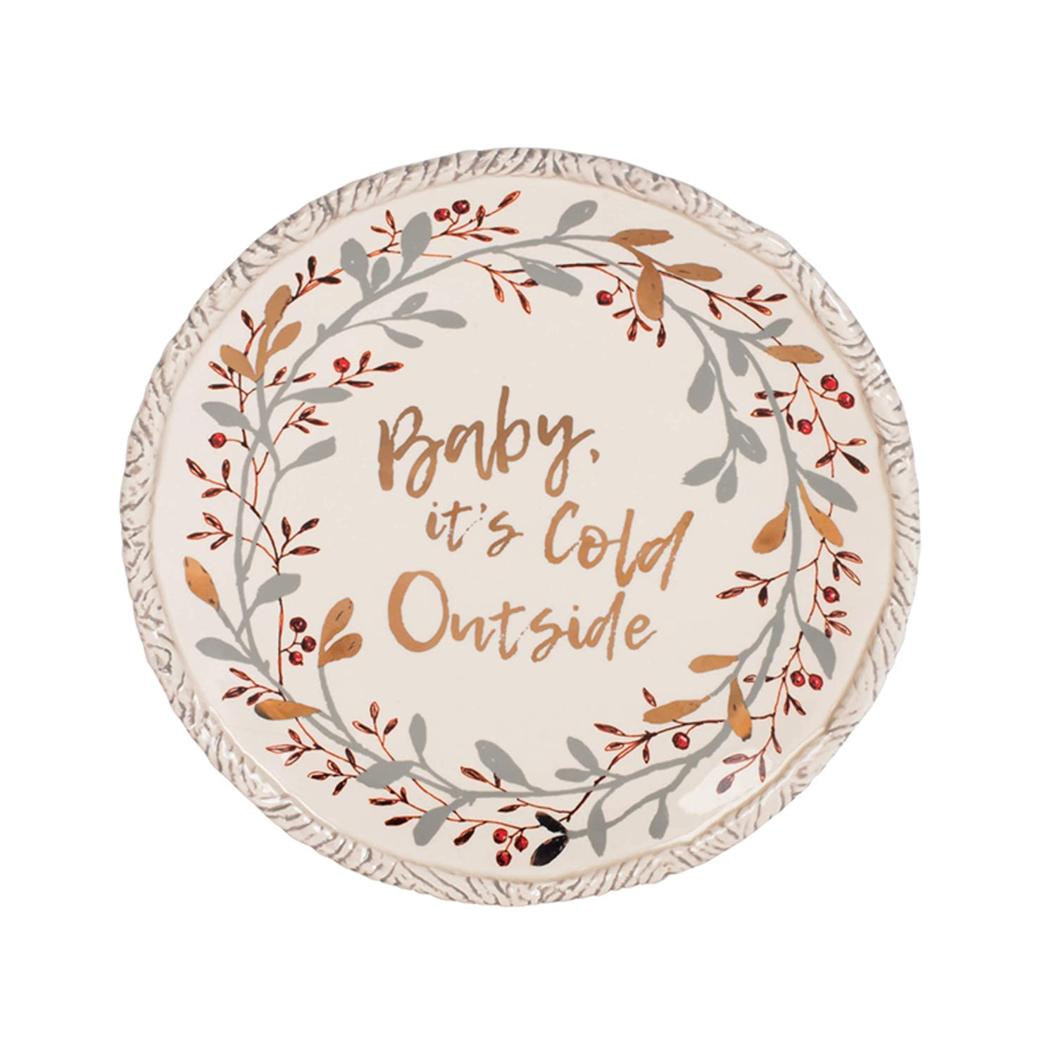 Fitz and Floyd 49-794 ウントリーウッド フットボウル スプレッダー付き 9.75-Inch  Holiday Serving/Sharing Plate B07G4VQ1VH