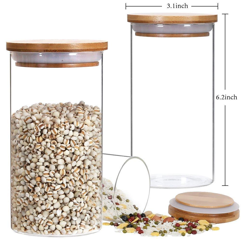 Almacenamiento Jar flor té jarra de cristal té tanque, 850ml/29oz ecológica sin BPA recipiente Natural bambú tapa y junta de silicona anillo de cocina de ...