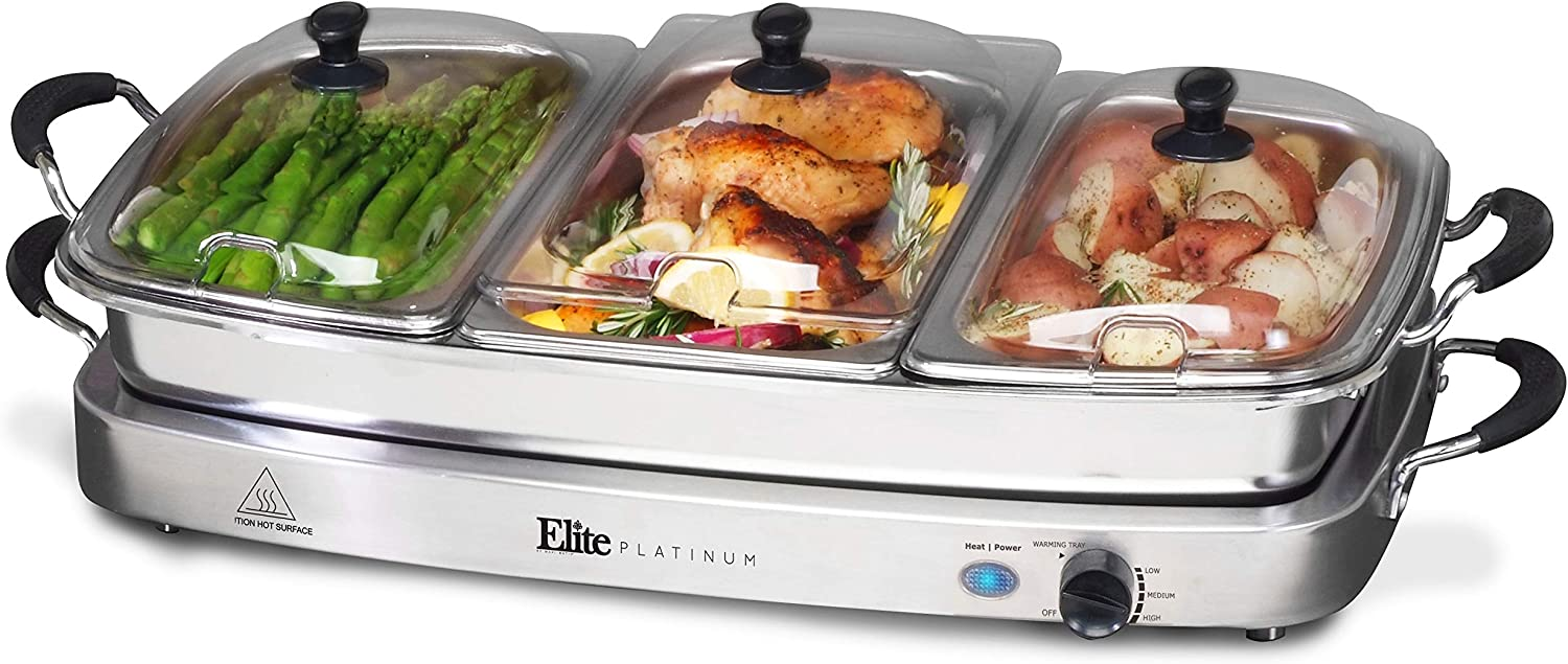 Amazon Com Elite Gourmet Elite Platinum Ewm 9933 Maxi Matic 7 5 Quart Triple Buffet Server Tray Oven Safe Pan Gravy Holiday Essentials Stainless Steel Chafing Dishes Kitchen Dining