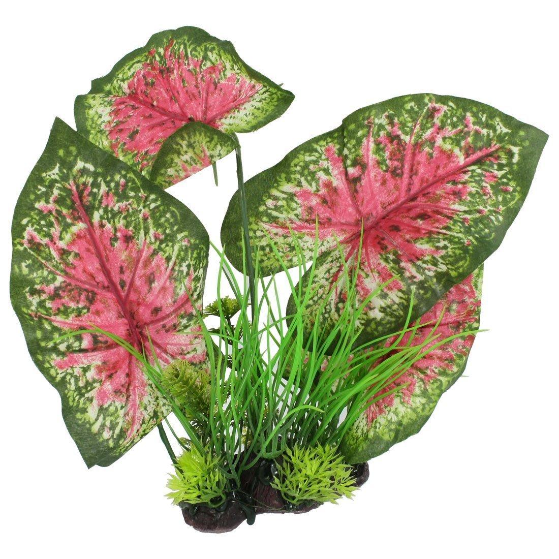 1Pc Plastic Fish Tank Manmade Grass Plant, Green Magenta