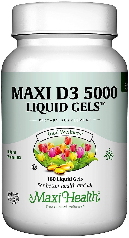 Maxi Health D3 5000 Liquid Gels - Natural Vitamin D3 - Nutrition Supplement - 180 Capsules - Kosher