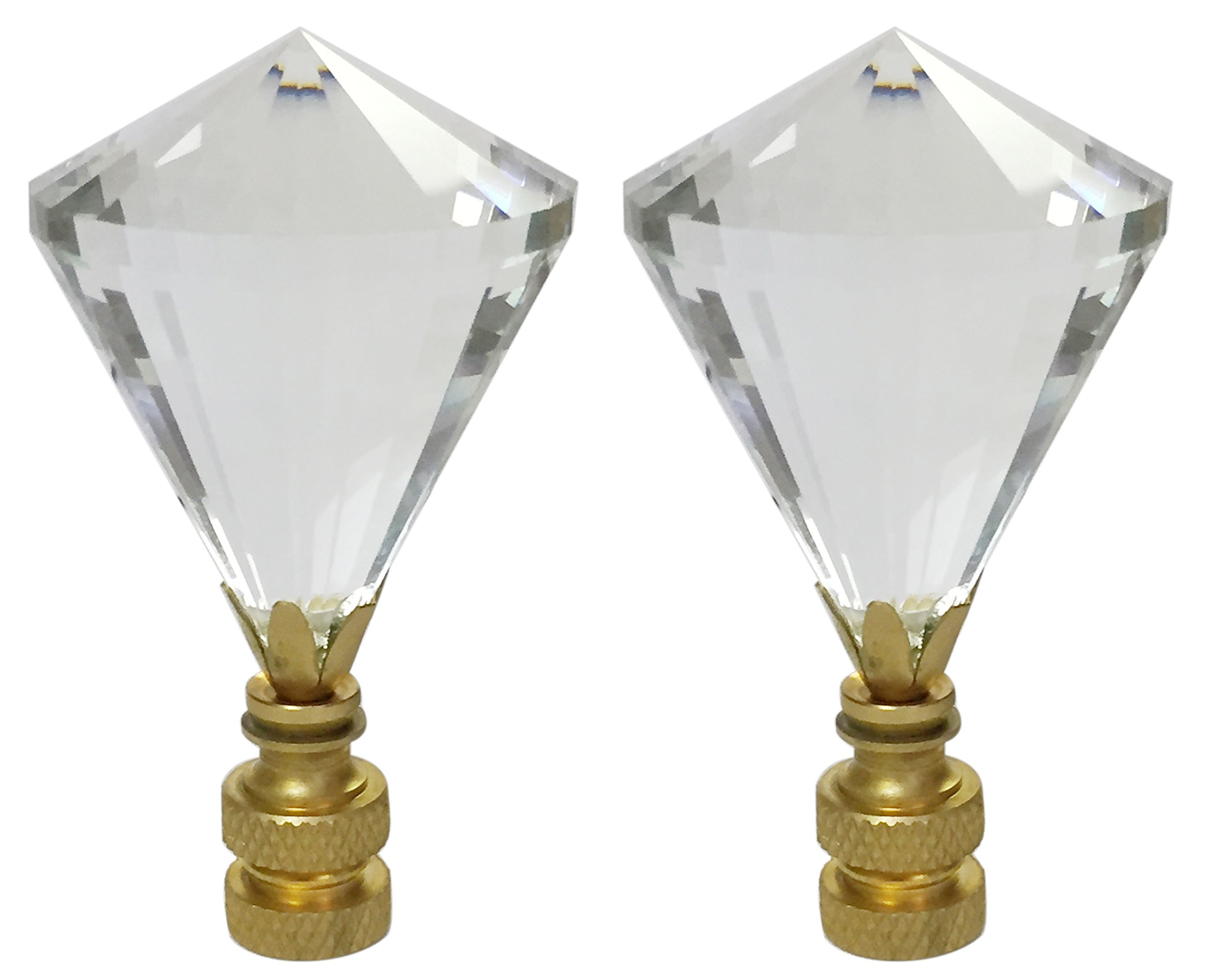 Extra Large Diamond Gem Cut Clear K9 Crystal Lamp Finial for Lamp Shade with Polished Brass Base Set of 2 by Aromzen