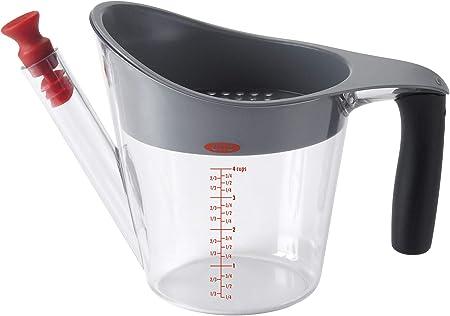 Diseño inteligente, resistente al calor separador de grasas con capacidad para 1 L,Colador termorres